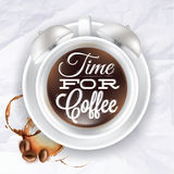 Poster cup kofem alarm clock in crumpled paper. Poster cup kofem alarm clock incrumpled paper color shown with a cup lettering Time for coffee. Vector Royalty Free Stock Photo