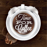 Poster cup kofem alarm clock in dark wood. Color shown with a cup lettering Time for coffee. Vector Stock Photography