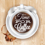 Poster cup kofem alarm clock in loft wood Royalty Free Stock Photography
