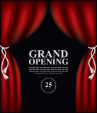 Poster with curtains and the words Grand opening Stock Photo