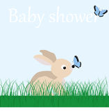 Poster cute baby Bunny on the grass and butterflies on a blue ba Royalty Free Stock Photo