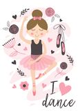 Poster with cute ballerina girl. Vector illustration, eps royalty free illustration