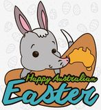 Cute Bilby over a Boomerang for Australian Easter Event, Vector Illustration. Poster with cute bilby over a sign like a boomerang with a Australian map and Royalty Free Stock Image