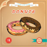 Poster. Cute donut. Cute donut. Vector Engraving illustration. Vintage Donuts Poster. Delicious donut dessert. Sweet donut advertising banner. With sprinkle Royalty Free Stock Images