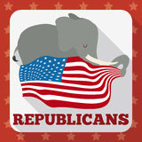 Poster with Cute Elephant Holding the American Flag, Vector Illustration. Cute elephant holding an American flag in squared button inviting Republicans to vote Royalty Free Illustration