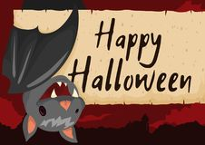 Cute Hanged Bat with Scroll for Halloween Celebration, Vector Illustration. Poster with cute hanged bat smiling at you in a spooky night view with greeting Royalty Free Stock Images