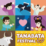 Poster with Cute Iconic Tanabata Characters, Vector Illustration Royalty Free Stock Photography