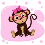 Poster with cute monkey girl - vector, illustration, eps. Gentle poster with a cute sitting monkey in pink glasses with a bow on his head on a pastel pink vector illustration