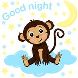 Poster good night cute monkey- vector, illustration, eps royalty free illustration