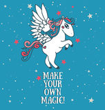 Poster with cute pegasus on starry background Royalty Free Stock Photo
