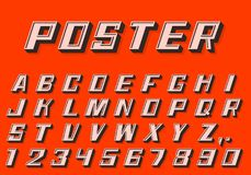 Poster 3d font numbers and letters retro style. Vector illustration Stock Photography