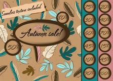 Poster da venda do outono com textura sem emenda. Ilustração do Vetor