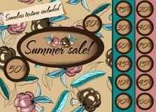 Poster da venda do verão com textura sem emenda. Ilustração Stock