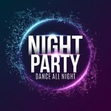 Poster for a dance party. Night party. Festive geometric neon flyer. Banner from geometrical plexus particles. Vector illustration. EPS 10 Stock Photos