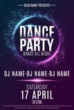 Poster for a dance party. Night party. Festive geometric neon flyer. Banner from geometrical plexus particles. Name of club and DJ. Vector illustration. EPS 10 Royalty Free Stock Image
