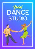 Poster for dance studio. Flyer or element of advertizing for social dances studio. Flat vector illustration. Dance party poster template, event flyer vector illustration