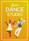 Poster for dance studio. Flyer or element of advertizing for social dances studio. Flat vector illustration. Dance party poster template, event flyer stock illustration