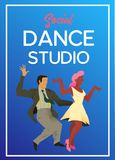 Poster for dance studio. Flyer or element of advertizing for social dances studio. Flat vector illustration. Dance party poster template, event flyer royalty free illustration