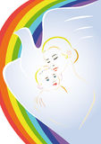 Poster of the Day of Child Protection. The mother holds a baby in the background and the silhouette of a dove flying rainbow Royalty Free Stock Photography