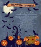 Poster de Halloween do convite com monstro bonito. Ilustração Stock