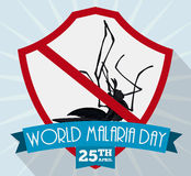 Poster with Dead Mosquito for Malaria Day, Vector Illustration Stock Photography