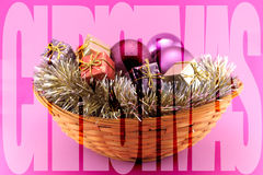 Poster with a decorated Christmas basket Royalty Free Stock Photography