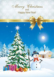 poster with decorated Christmas tree. Poster with decorated Christmas tree and a snowman in a winter landscape Royalty Free Stock Photo