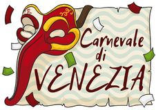 Colorful Zanni Mask with Scroll and Confetti for Venice Carnival, Vector Illustration. Poster with decorated Zanni mask over a greeting sign in scroll and a Royalty Free Stock Image
