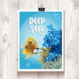 Poster with the deep sea anemones and fish on wood background Stock Images