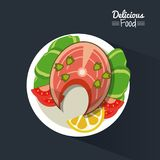 Poster delicious food in black background with dish of fish and vegetables. Vector illustration Stock Images