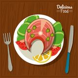Poster delicious food in kitchen table background and cutlery with dish of fish and vegetables. Vector illustration Stock Image