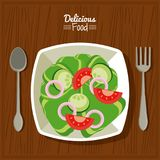Poster delicious food in kitchen table background and cutlery with dish of salad of vegetables royalty free illustration