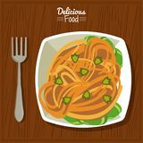 Poster delicious food in kitchen table background with fork and dish of pasta with vegetables vector illustration