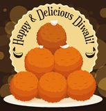 Delicious Pile of Laddus Dessert for Diwali Celebration, Vector Illustration. Poster with delicious Laddu desserts piled up in a lighted night to enjoy in Diwali vector illustration
