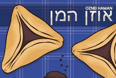Hamantaschen Cookies or Haman Ears over Tablecloth for Purim Celebration, Vector Illustration. Poster with delicious pastries: Hamantaschen -also called Oznei Royalty Free Stock Image