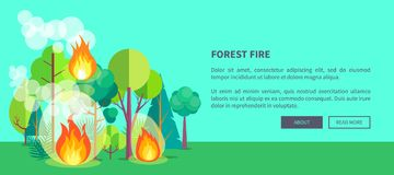 Poster Depicting Raging Forest Fire. Forest fire web poster of raging wildfire. Vector illustration of forest burning fiercely with bushes, trees aflame and a Stock Image
