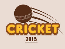 Poster design with ball for cricket sports. Poster, banner or flyer with brown ball and text Cricket 2015 on light pink background Stock Images