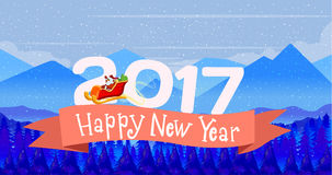 Poster Design card Merry Christmas and a Happy New Year with winter landscape 3D text in 2016. Dark sky. Vector illustration. Poster Design card Merry Christmas Royalty Free Stock Photography