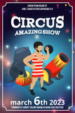 Poster design of circus show. Magic carnival illustrations in cartoon style. Vector picture with place for your text. Circus poster amazing show Stock Photo