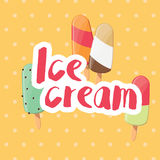 Poster design with colorful glossy ice cream Royalty Free Stock Photo