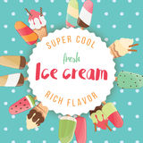 Poster design with colorful glossy ice cream Stock Photos