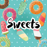 Poster design with colorful glossy tasty donuts and ice cream Royalty Free Stock Photography