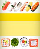 Poster design with different sushi rolls Stock Photos