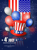Poster design for Fourth of July Independence Day. With patriotic hat, balloons, fireworks and the USA flag Stock Photography