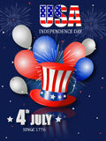 Poster design for Fourth of July Independence Day. With patriotic hat, balloons, fireworks and the USA flag inside the letters Royalty Free Stock Photos