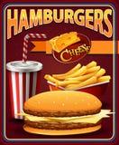 Poster design for hamburgers and fries. Illustration stock illustration