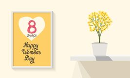 Poster template. Happy Women`s Day March 8th. Interior design. Trendy design. Greeting card. Flat design. Vector illustration. Min. The poster design for Stock Images