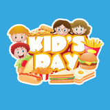 Poster design with kids and junkfood. Illustration Stock Photo