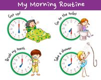 Poster design with morning routine for kids. Illustration Royalty Free Stock Images