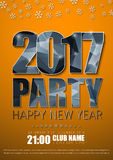 Poster Design for the New Year`s party in 2017. Orange flyer template with silver abstract polygonal numbers and letters, snowflakes. Vector illustration Royalty Free Stock Photos